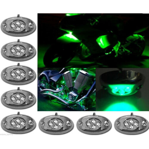 8Pc Green LED Chrome Modules Motorcycle Chopper Frame Neon Glow Lights Pods Kit