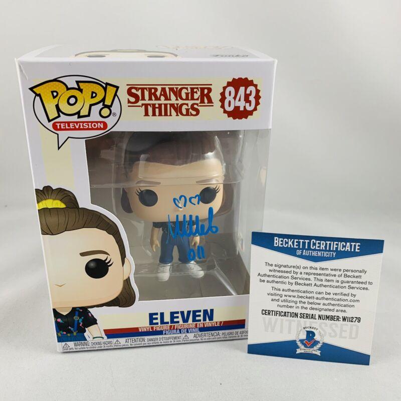 MILLIE BOBBY BROWN SIGNED STRANGER THINGS #843 ELEVEN FUNKO POP BAS COA #W11279