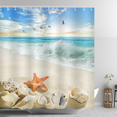 Gemstone Curtain (Beach Themed Shower Curtain Red Starfish Ankle Stone Sandy Coastal Scene Decor )