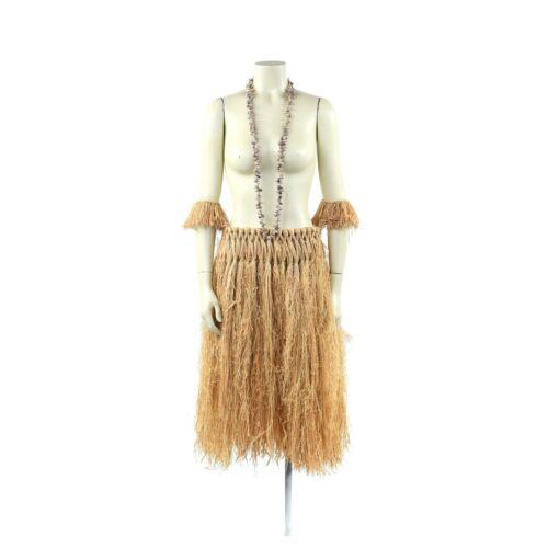Vintage Hawaiian Grass Skirt Beaded Necklace Hula Dancer Costume Set