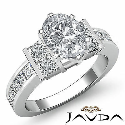 Oval Diamond Engagement Invisible Prong Channel Set Ring GIA Certified F VS2 2Ct