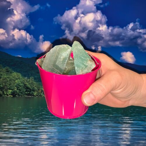 Bucket Full of Green Calcite Rough + FREE faceted gemstone - Pick Bucket Color