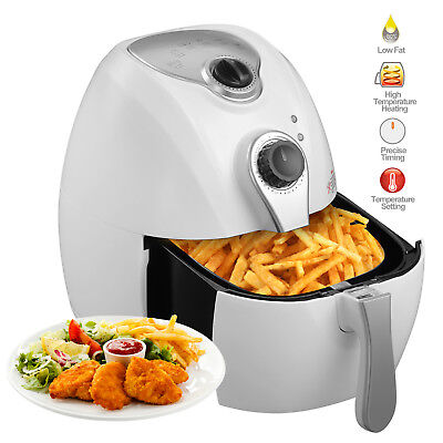 Electric Air Fryer Timer Temperature Control Multi Function White 4.4qt 1300w