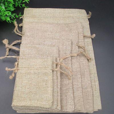 Natural Jute Gift Bag - Wedding Natural Hessian Burlap Jute Favour Gift Bags Drawstring Sack Pouch Logo