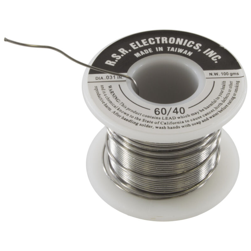 "Rosin Core Solder 100 Gram Roll - 60/40 - Thickness .031"""