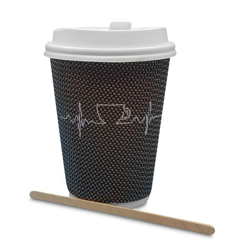 Set of 60 disposable coffee cups 8 oz with lids and wooden wrapped stirrers