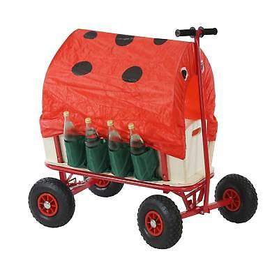 Bollerwagen mit Flaschenhalter, Handwagen mit Bremse Sitz Dach Marienkäfer rot