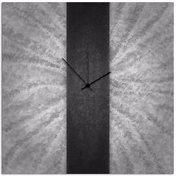 Modern Black & Grey Wall Clock Contemporary Decor Large Metal Abstract Art Clock