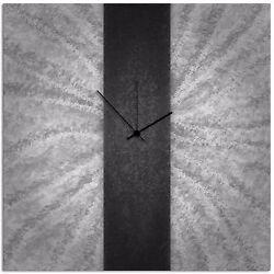 Modern Black & Grey Wall Clock Contemporary Decor Large Metal Abstract Art Clock