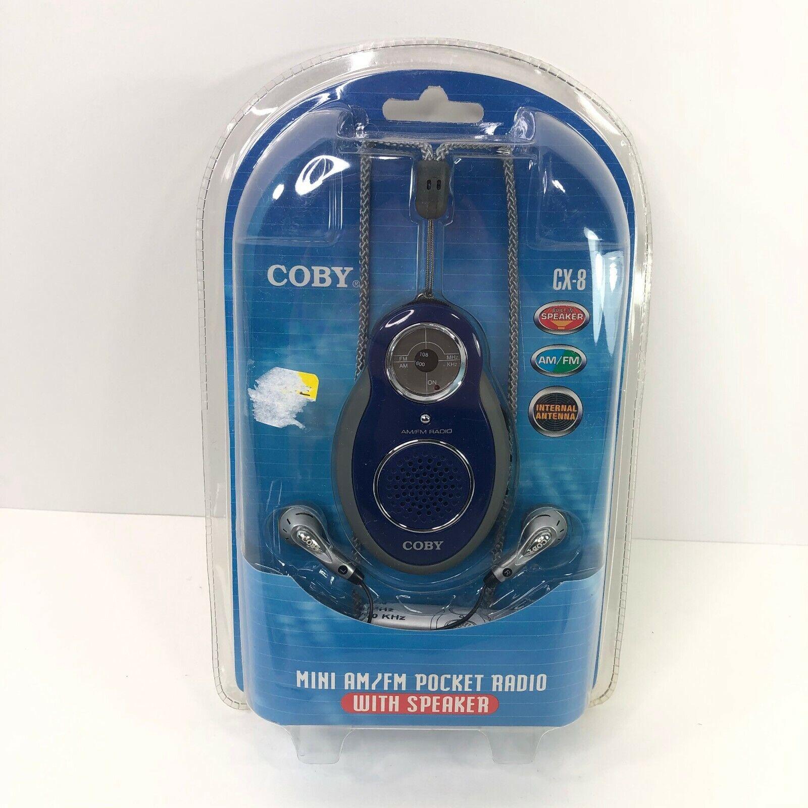 COBY CX-8 BLU AM/FM Radio with Built-In Speaker & Earphones