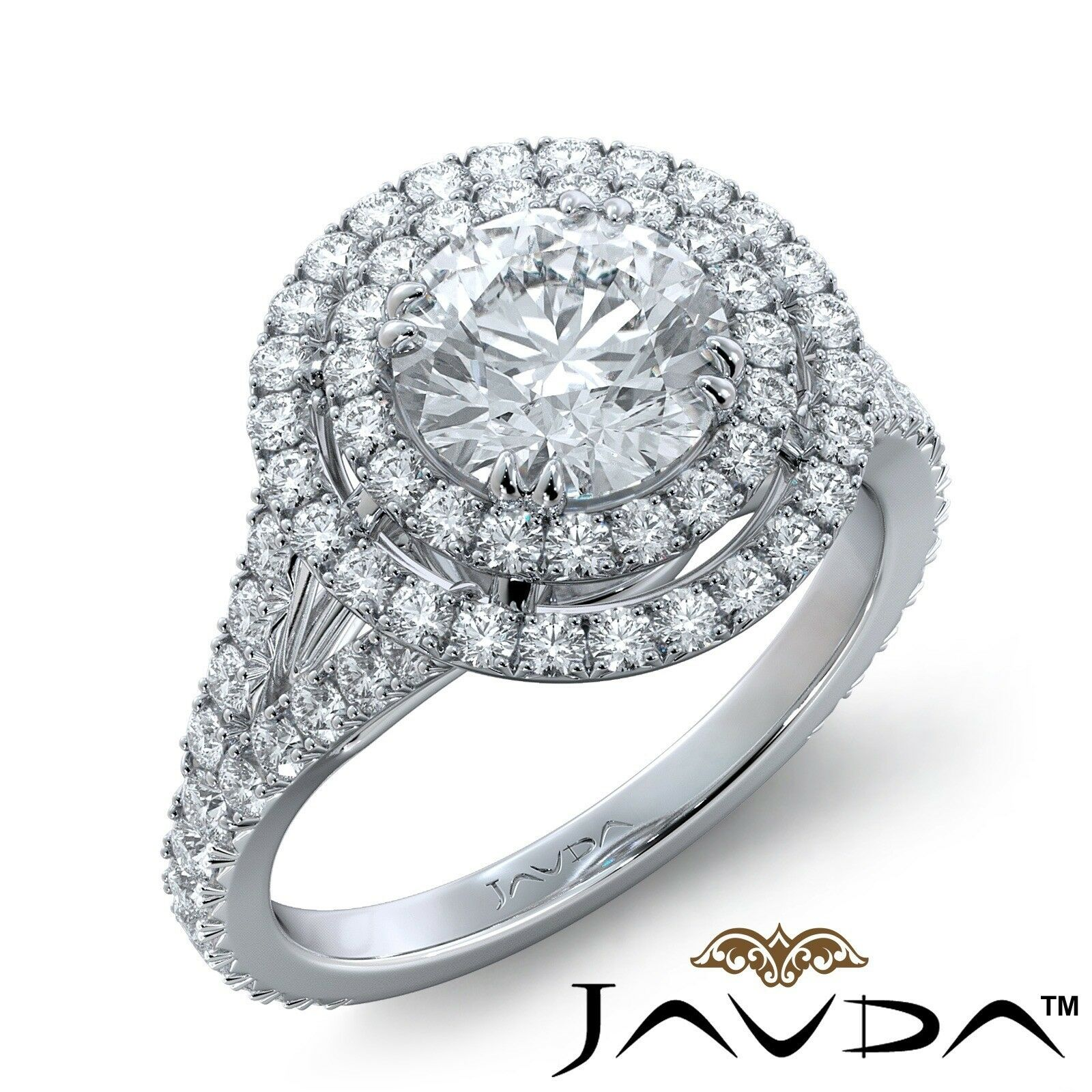4.3ct French V Cut Pave Gala Halo Round Diamond Engagement Ring GIA I-SI1 W Gold