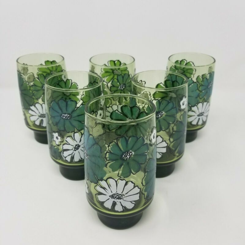 "Set Of 6 Vintage Libbey Green Glass Floral Tumbler 5.25"" /10 oz"