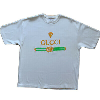 Gucci Vintage Shirt XL Promo Tee Double G Logo Single Stitch