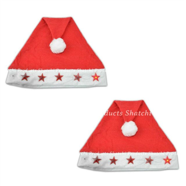 2 x Father Christmas Santa Hat with Flashing Lights Fancy Dress Costume
