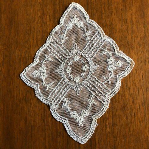 Embroidered Net Antique Diamond Shape Doily