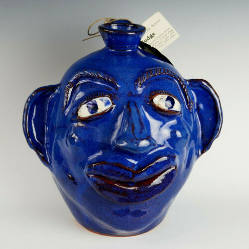 "ALBERT HODGE Face Jug Cobalt Blue Catawba NORTH CAROLINA Pottery 9.5"""
