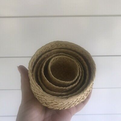 Vintage Wicker Bamboo Woven Lot Of 5 Baskets Farmhouse
