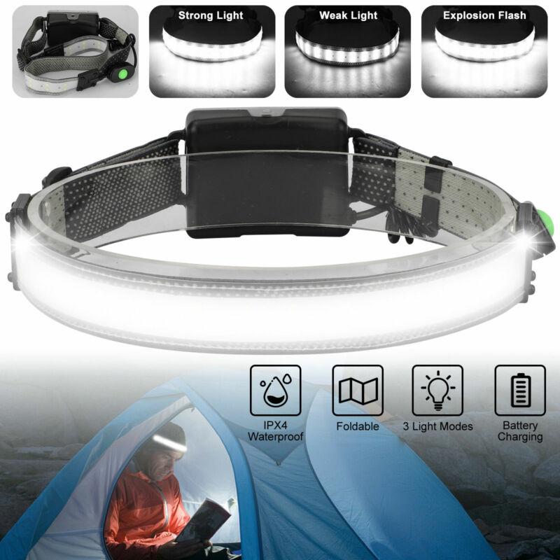 LED Head Band Light Flashlight Headlamp 3Mode Broadbeam Torch Lamp Waterproof
