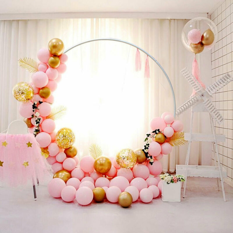 2M Round Wedding Arch Backdrop Stand Iron Metal Wreath Party Decorations USA