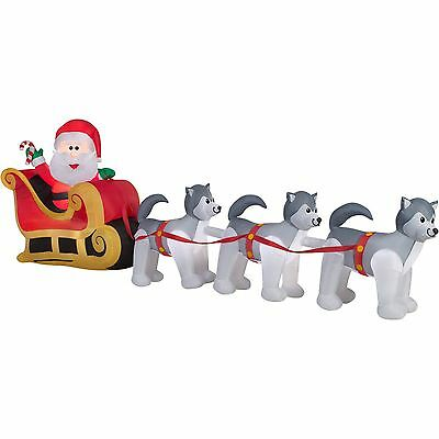 Huge 12.5' Santa Husky Dog Sled Christmas Airblown Inflatable Lighted Yard Decor