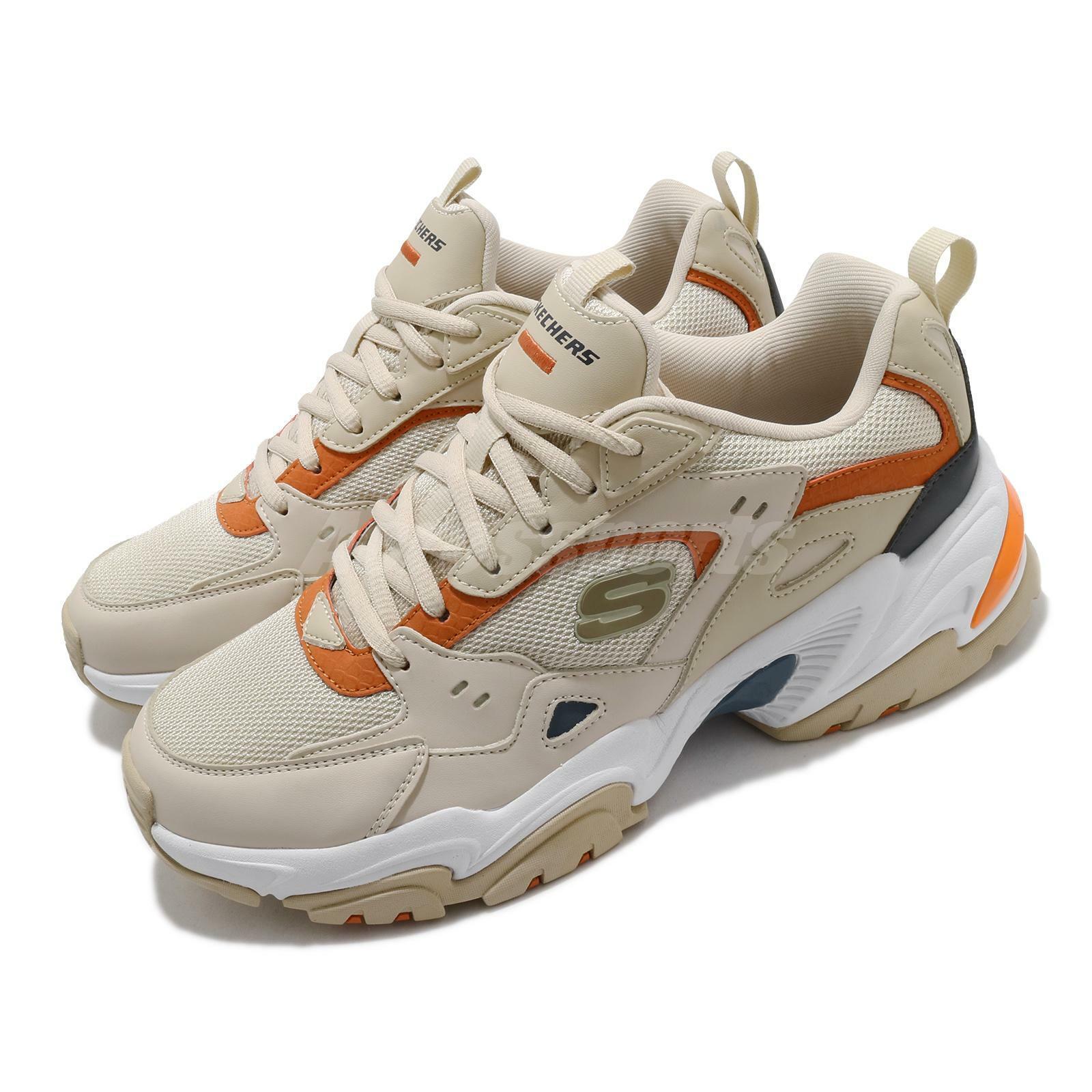 Skechers Stamina V2 Taupe White Orange Men Casual Lifestyle Shoes 237163-TPE