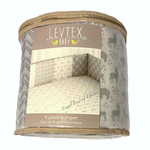 Levtex Baby Everett Grey White Woodland Animals 4 Piece Crib Bumper Set