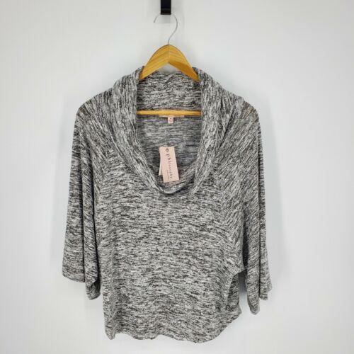 New Philosophy Womens Cowl Neck Sweater Medium Gray Heather Cozy Wide Sleeves