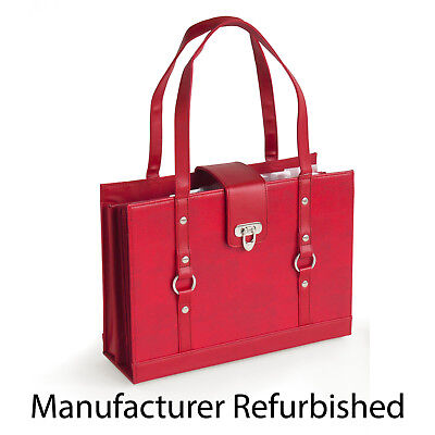 Texture Faux Leather File Organizer Tote - Red Refurbished