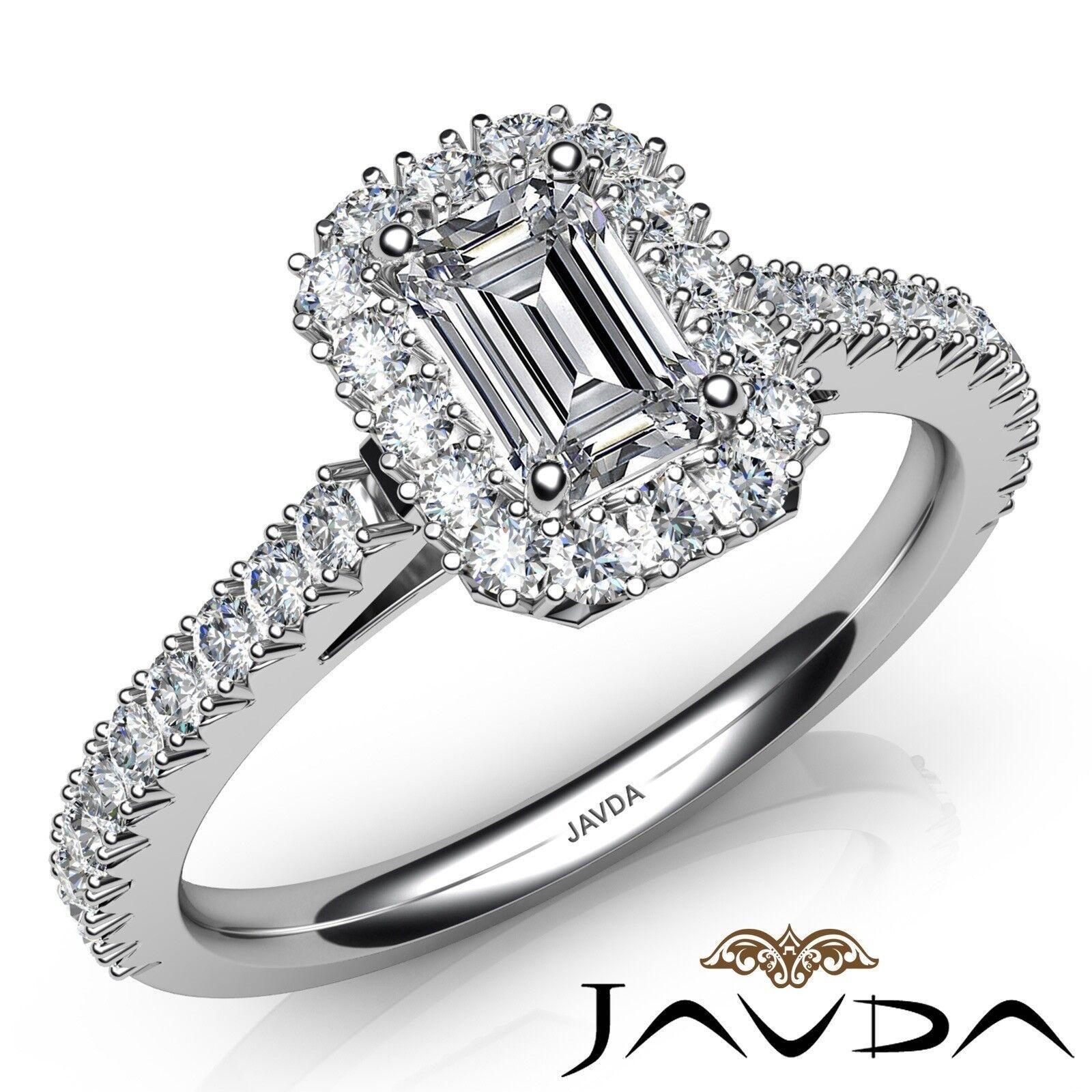1.94ct French Pave Halo Sidestone Emerald Diamond Engagement Ring GIA I-SI1 Gold