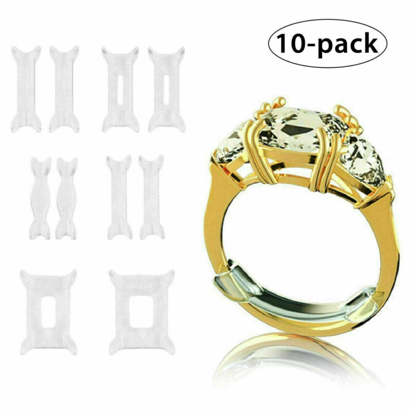 10 Pcs Ring Size Adjuster Invisible Clear Ring Sizer Jewelry Fit Reducer Guard