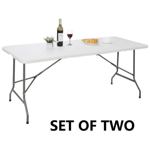 2X 6′ Portable Folding Table Plastic Indoor Outdoor Picnic Party Camp Dining Furniture