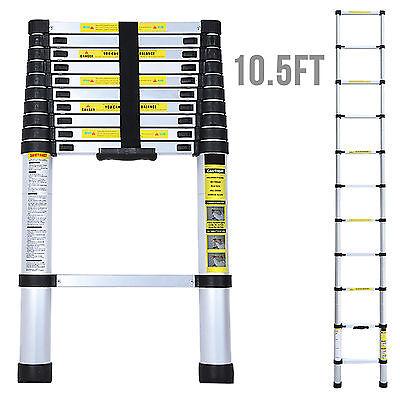 10.5ft Multi Purpose Aluminum Ladder Fold Step Extend Telescopic Garden Tools