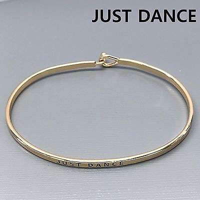 Gold Finished JUST DANCE Statement Message Engraved Brass Simple Bangle Bracelet