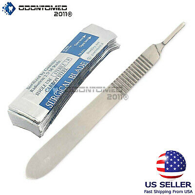 10 Sterile 15 Surgical Blades With Free 3 Scalpel Knife Handle Medical Dental