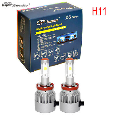 2x Cree LED Headlight Kit H11 6000K Low Beam Fog Bulb wMetal Clamp White