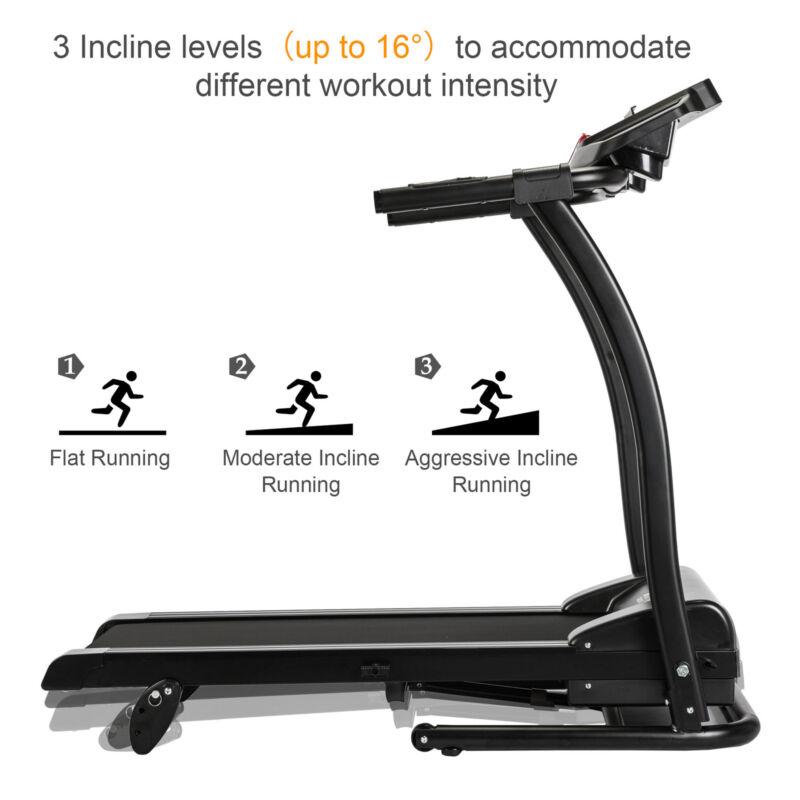 1.5HP Foldable Incline Running Machine Power Fitness Walking Adjustable