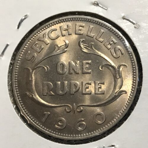 1960 SEYCHELLES ONE RUPEE BRILLIANT UNCIRCULATED COIN