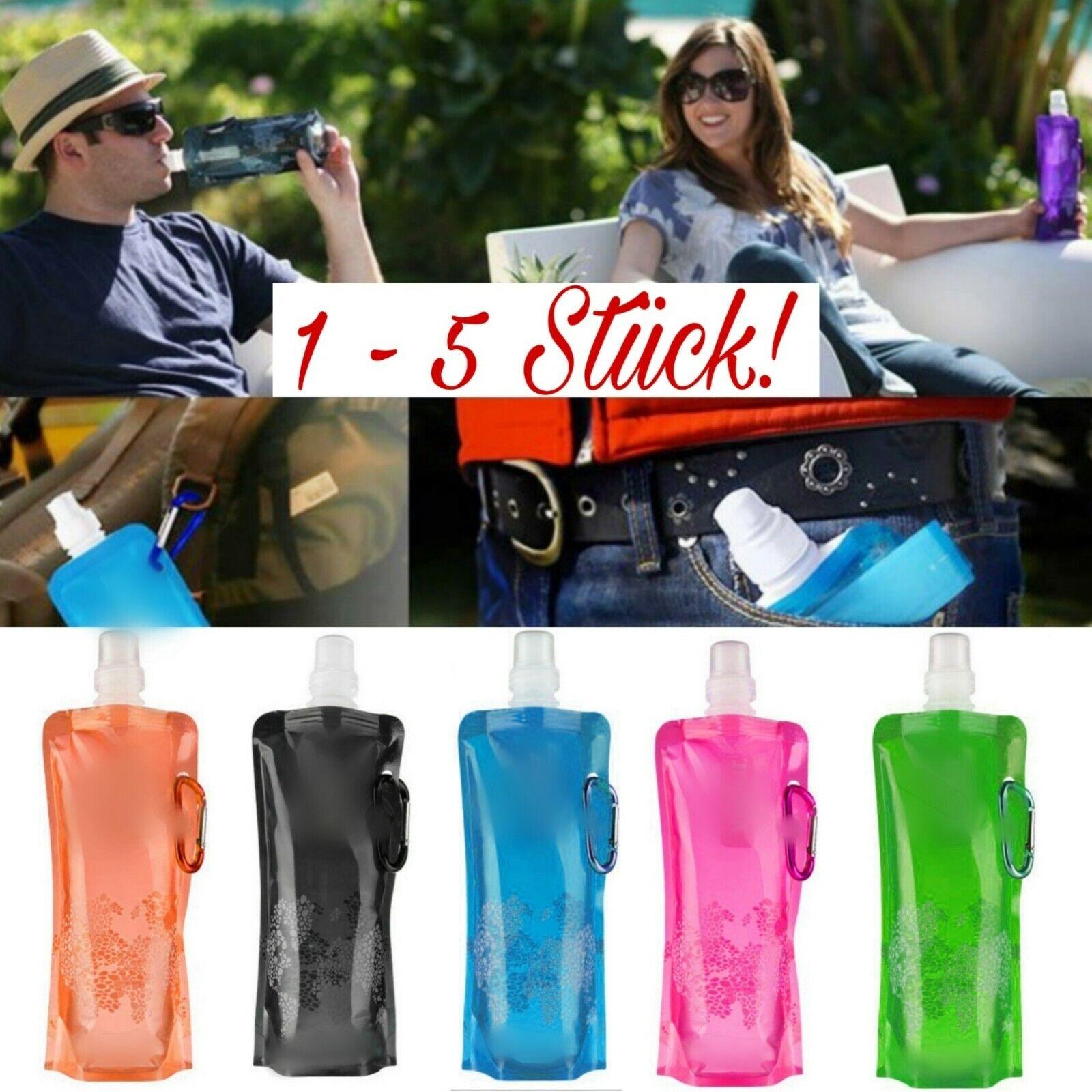 1 - 5x 500ml Trinkflasche Faltbar Festival Sommer Beutel Wasser Flasche Camping