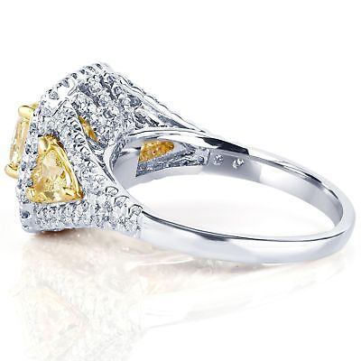 GIA Certified 2.31 Ct Fancy Light Yellow Radiant Cut Diamond Engagement Ring 18k 1