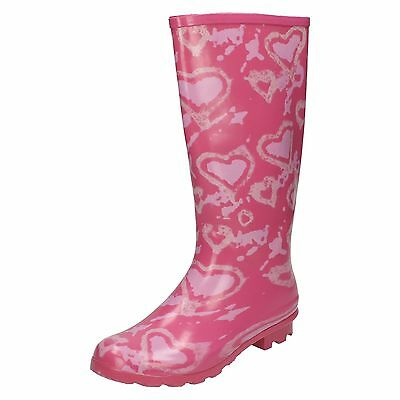 WHOLESALE Girls Heart Print Wellingtons / Sizes 12x5 / 14 Pairs / X1034