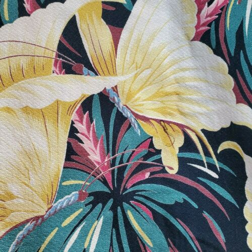 Vintage Bark Cloth Mid Century Black Butterfly Art Deco Tropics Hollywood Bright