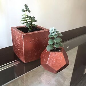 ON SALE two geometric concrete planters with succulents