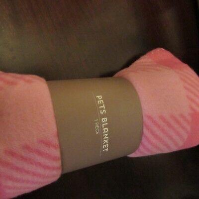New Pet Dog Cat Soft Cute Pink plaidFleece Blanket 39 x 37.5