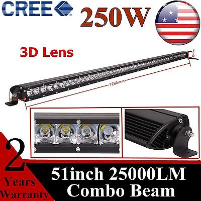 51inch 250W CREE Slim Single Row Led Work Light Bar Combo Boat Jeep Truck 50/52