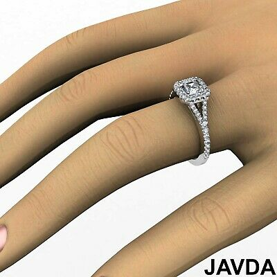 Asscher Shape Diamond Engagement GIA H VS2 18k White Gold Halo Pave Set Ring 1Ct 11