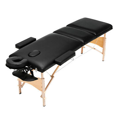 """84""""L Black 3 Fold Portable Massage Table Facial SPA Bed Tattoo with Carry Case"""