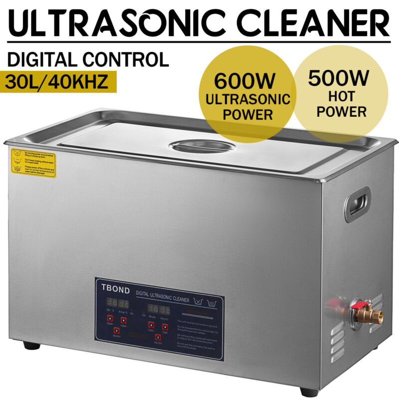 3/6/10/15/22/30L Stainless Ultrasonic Cleaner Industry Heated Heater w/Timer