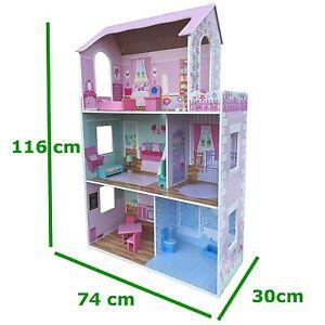 XXL großes Puppenhaus Barbiehaus Villa Puppenstube mit Puppen Möbel Dollhouse