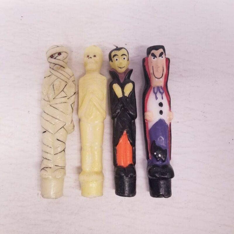 "Vintage 6"" Halloween Candle Lot of 4, Vampires, Mummy, Skeleton, New"