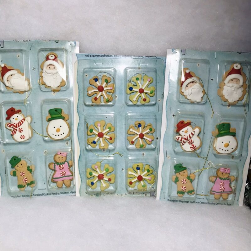 18 mini Gingerbread Cookie Christmas tree Ornaments Miniature Crafting Old Stock
